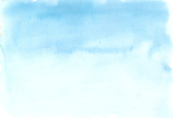Hand painted blue watercolor background, watercolor wash