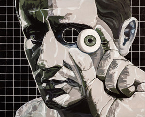 Modern art abstract portrait painting of a man holding his eyeball.
