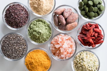 Selection of superfoods on a white background