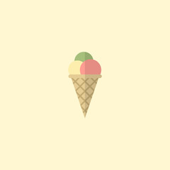 Flat Icon Ice Cream Element. Vector Illustration Of Flat Icon Sorbet Isolated On Clean Background. Can Be Used As Sorbet, Ice And Cream Symbols.