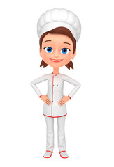 3d rendered illustration. Girl chef isolated on white background.