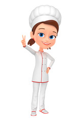 Girl chef isolated on white background showing the peace of the world. 3d rendered illustration.