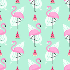 Tropical trendy seamless pattern with pink flamingos, watermelon and palm leaves on mint green background. Exotic Hawaii art background. Design for fabric, wallpaper, textile and decor.