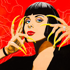 Modern art abstract portrait painting of a beautiful woman with fourteen fingers.