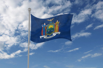New York flag waving in the sky