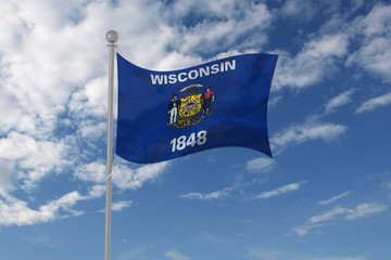 Wisconsin flag waving in the sky