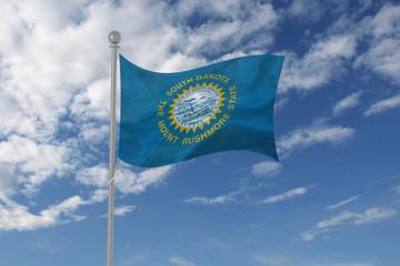South Dakota flag waving in the sky