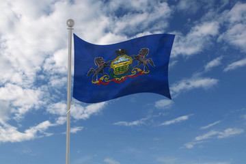 Pennsylvania flag waving in the sky