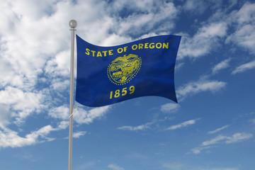Oregon flag waving in the sky