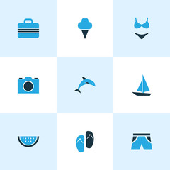 Season Colorful Icons Set. Collection Of Watermelon, Swimsuits, Camera And Other Elements. Also Includes Symbols Such As Flop, Video, Sorbet.
