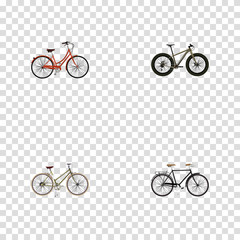 Realistic Fashionable, Retro, For Girl And Other Vector Elements. Set Of Bike Realistic Symbols Also Includes Retro, Bike, Woman Objects.