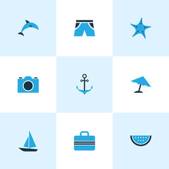 Sun Colorful Icons Set. Collection Of Watermelon, Camera, Shorts And Other Elements. Also Includes Symbols Such As Melon, Suitcase, Dolphin.