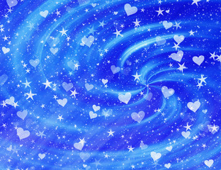 many dreamy flying stars and hearts
