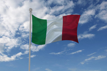 Italy flag waving in the sky