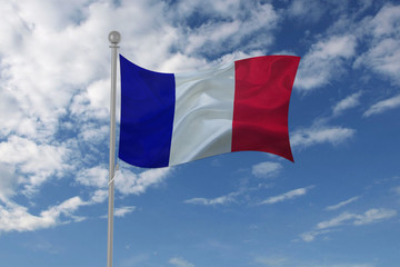 France flag waving in the sky
