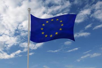 European Union flag waving in the sky