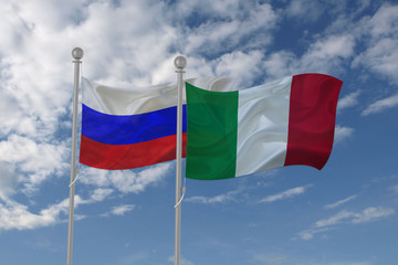 Russia and Italy flag waving in the sky