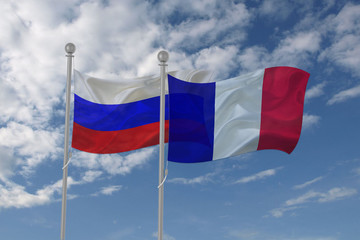 Russia and France flag waving in the sky