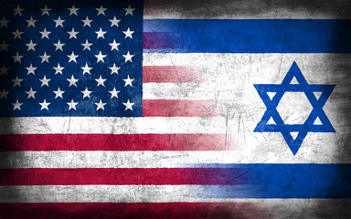 USA and Israel flag with grunge metal texture