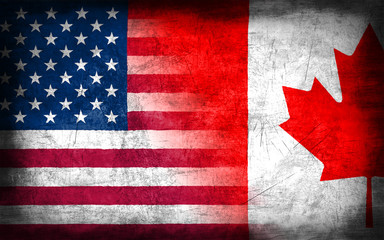 USA and Canada flag with grunge metal texture