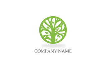 round abstract green tree nature logo