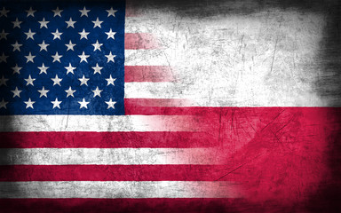 USA and Poland flag with grunge metal texture
