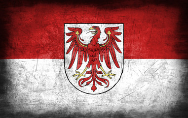 Brandenburg flag with grunge metal texture
