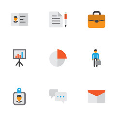 Business Flat Icons Set. Collection Of Presentation Board, Suitcase, Chatting And Other Elements. Also Includes Symbols Such As Businessman, Briefcase, Contract.