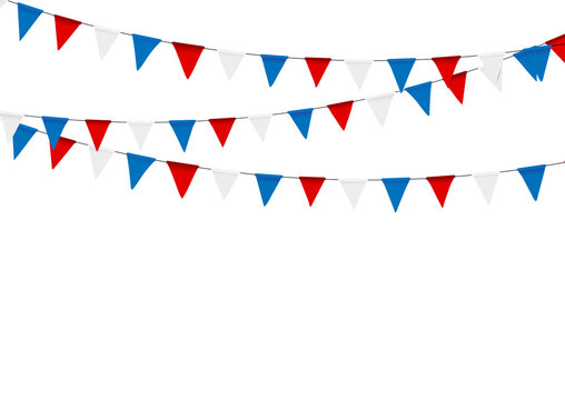 Russian flag festive bunting against. Party background with flag