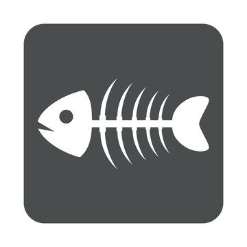Icono plano espina de pescado en cuadrado gris