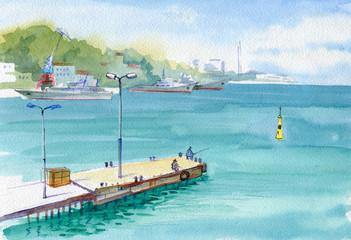 Watercolor. View of the seaport, old pier. Fishermen, dock, warships. Sevastopol, Crimea.