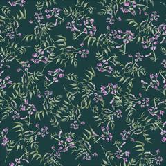 hand drawn seamless elegant floral pattern with wild flowers on dark background