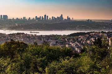 Panorama of Istanbul and Bosphorus bridge at sunset, Istanbul, Turkey