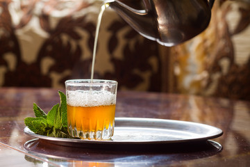 view of a moroccan traditional tea on a table