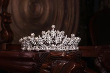 Royal pearl diadem, crown for bride. Wedding, queen