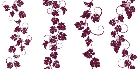 Set of seamless ornaments with vines of grapes. Wall mural