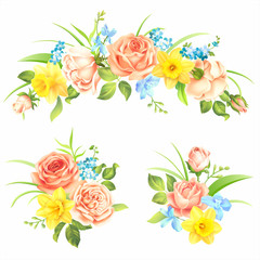 Floral decorative elements with roses and spring flowers. Vector set.