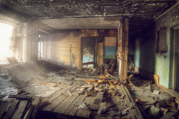 Interior view of the destroyed room in an abandoned house Wall mural
