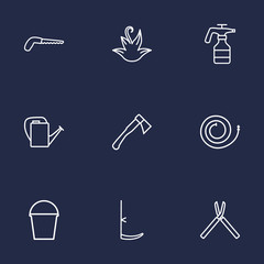 Set Of 9 Household Outline Icons Set.Collection Of Hatchet, Arm-Cutter, Bailer And Other Elements.