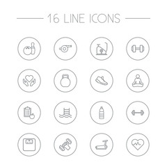 Set Of 16 Training Outline Icons Set.Collection Of Bowling, Exercise Bike, Kettlebells And Other Elements.
