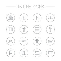 Set Of 16 Situation Outline Icons Set.Collection Of Closet, Table, Bar Stool And Other Elements.