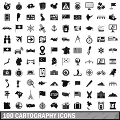100 cartography icons set, simple style