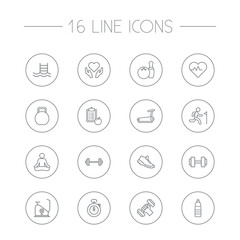 Set Of 16 Training Outline Icons Set.Collection Of Diet, Dumbbell, Trekking Shoes And Other Elements.