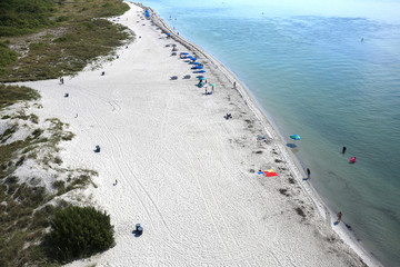 Aerial view of the southern tip of Key Biscayne Beach one of the top ten beaches in America, as seen from 95' high from the top of Bill Baggs Lighthouse.