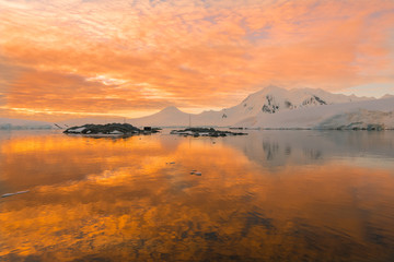 Magical sunset in Antarctica