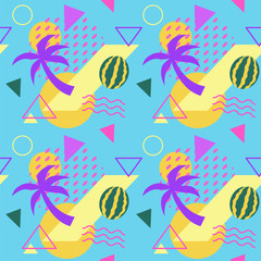 Seamless color trendy patterns  with watermelons and palms, geometric shapes, fashion vector backgrounds