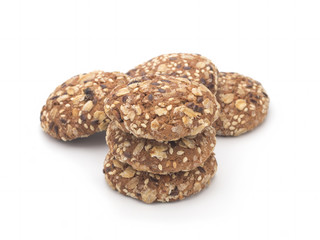 Dietary oatmeal cookies on a white background