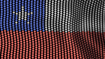 Flag of Chile, consisting of many soccer balls fluttering in the wind, on a black background. 3D illustration.