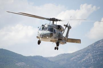 Black hawk helicopter rescue team radar view