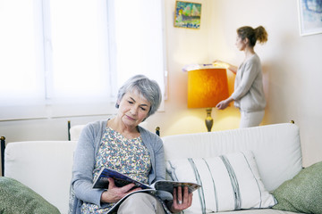Senior woman with her carer